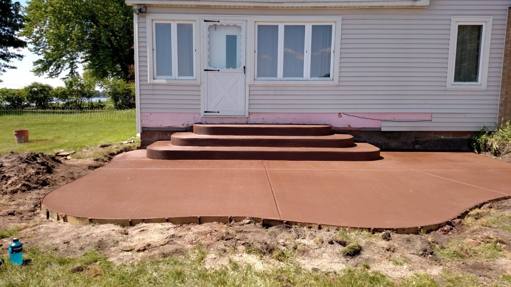 red concrete patio with curved steps Portgae Michigan