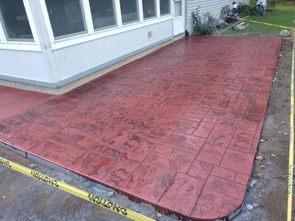 red ashlar slate stamped concrete patio Parchment